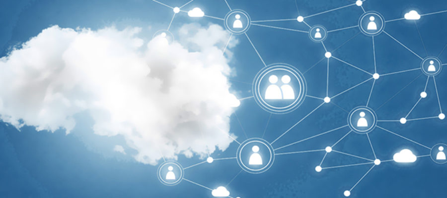 Cloud in blue sky connectivity people