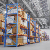 Warehouse with cardboard boxes inside on pallets racks, logistic center. Huge, large modern warehouse. Warehouse filled with cardboard boxes on shelves, boxes stand on pallets. 3D Illustration