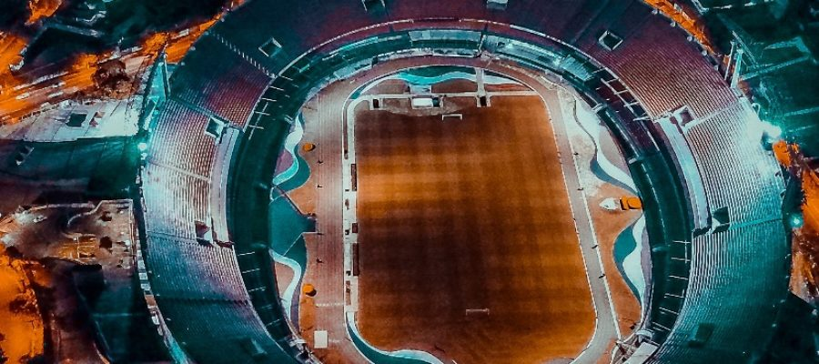 Orange blue-green stadium arial view
