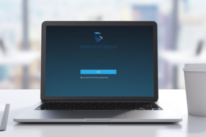 Grandstream Logo on Laptop Coffee Cup