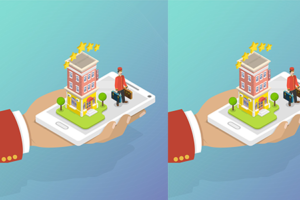 Hand holding mobile phone building business person cartoon