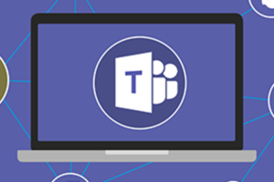 Microsoft Teams Logo on computer screen connectivity cartoon banner