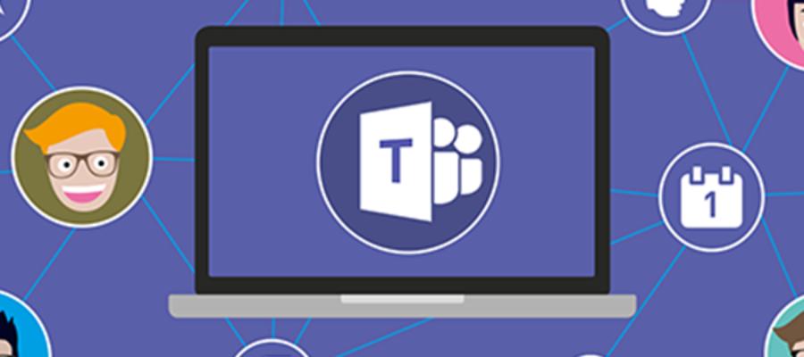 Microsoft Teams Logo on computer screen connectivity cartoon banner
